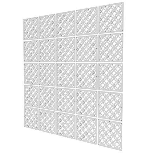 Separadores Ambientes de 25 Piezas - 197x197cm - Blanco Tabiques Separadores De Ambientes Patrón Geométrico Hueco Panel Divisor Ambient para La Decoración De La Barra De La Oficina del Hotel En C