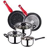 Pack 2 padelle Ø18/24 cm, alluminio forgiato + batteria cucina 5 pezzi + set accessori 3 utensili da cucina in acciaio inox
