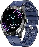 QHG Pantalla táctil Completa Fitness Tracker Ritmo cardíaco Presión Arterial Monitor de oxígeno Actividad Tracker Tiempo Bluetooth Health Smart Watch (Color : Blue)