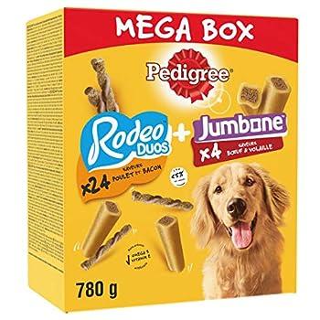 PEDIGREE Méga Box - Mix de Récompenses pour chien avec des Rodéo Duos et Son Os à Mâcher, 780 g de friandises
