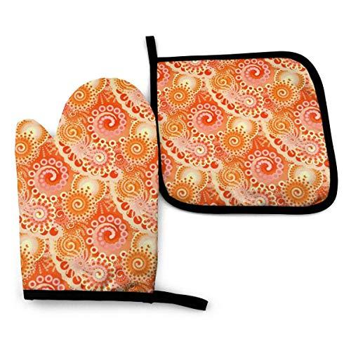 Guantes de Cocina y Juego de Mantel Individual Patrón de remolino fractal tonos de naranja coralcon Silicona Antideslizantes para Cocinar, Asar(Juego de 2 piezas)