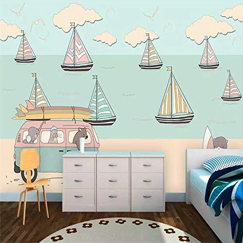 DZBHSCL 4D Behang muurschilderingen, Nordic Cartoon Blauw Roze Geel zeilboot kunstdruk formaat fotobehang voor kinderkamer kinderkamer achtergrond wanddecoratie 120in×200in 300cm(H)×500cm(W)
