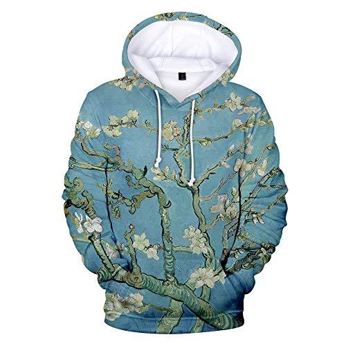 Hooded Casual 3D Printing Hoodies,Romantische Witte Perzik Blauw Lange Mouwen Streetwear Koppels Trui met Grote Pocket en Trekkoord Unieke Sweatshirts