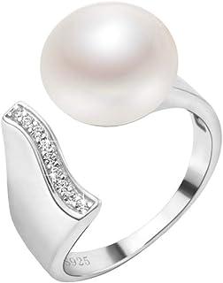Anillo de perlas de agua dulce natual de plata de ley 925 - 'llamada al mar' - Tamaño ajustable