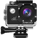 SOOCOO アクションカメラ 4K 超高画質 2000万画素 手振れ補正 wifi搭載 リモコン付き 170度広角 30m防水 2インチ液晶画面 1350mAHバッテリ2個 HDMI出力可能 25個付属品付き ウェアラブルカメラ ブラック (C30R)