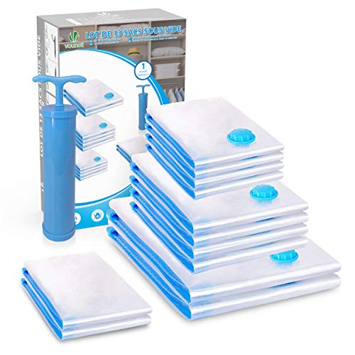 VOUNOT 12 Stück Vakuumbeutel für Kleidung Bettdecken Bettwäsche, Vakuum Aufbewahrungsbeutel Groß, Mittel und Klein, Kompressionsbeutel mit Pumpe