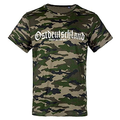 Männer und Herren Tarn T-Shirt Camouflage Ostdeutschland Härter als der Rest Größe S - 7XL