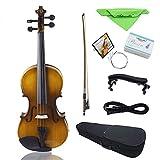 ammoon Kit de violín eléctrico de 4/4 de tamaño completo para violín acústico de madera maciza de pícea con arco y funda, cable de audio, colofonía, cuerdas, paño, retro atardecer