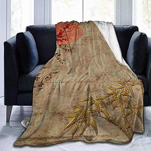 Manta de forro polar de franela asiática, rústica, dorada, roja, de bambú, tamaño doble, suave, de lujo, acogedora, ligera, mullida, decorativa para sofá cama, 50 x 40 pulgadas