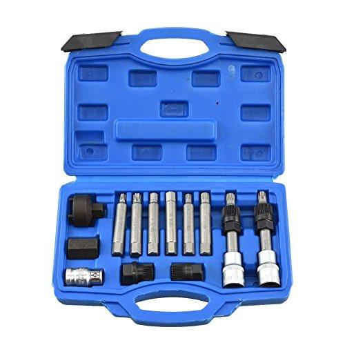 Domeiki Alternator Pulley Service Kit 13pc Set Bosch Car Decoupler Hex Spline Remover