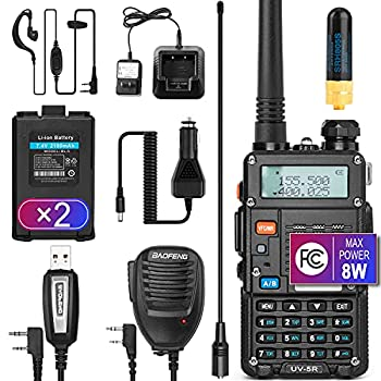 Ham Radio Walkie Talkie  UV-5R 8W  Dual Band 2-Way Radio with 2 Rechargeable 2100mAh Battery Handheld Walkie Talkies Complete Set with Earpiece and Programming Cable