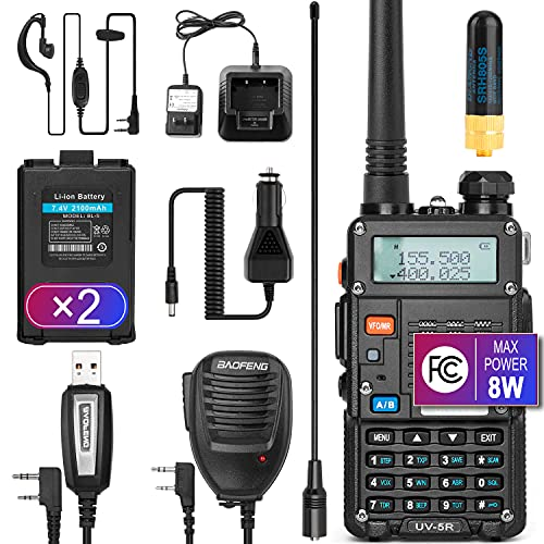 Ham Radio Walkie Talkie (UV-5R 8W) Dual Band 2-Way Radio with 2 Rechargeable 2100mAh Battery Handheld Walkie Talkies Complete Set with Earpiece and Programming Cable