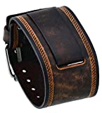 Nemesis #in-BS 24mm Lug Width Wide Brown Leather Cuff Wrist Watch Band