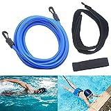 Jsdoin imboxs Nadador Estático,Cinturón de natación Ajustable para Piscinas de natación, Goma elástica natación con un Gorro de natación Gratis(4M)