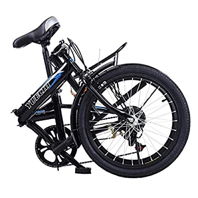 20in Folding Bike 7 Speed ​​City Bike Road Urban Commuter Tires High Tensile Leisure Lightweight Aluminum Mini Compact Bike Bicycle