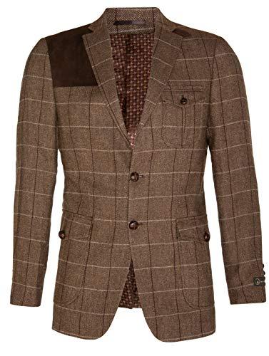 Men's Brown Wool Tweed Hunting Herringbone Blazer with Elbow Patches 48