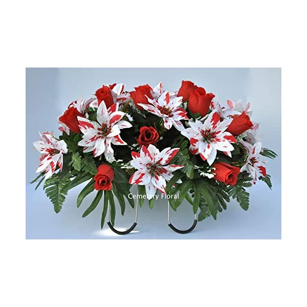 Cemetery Headstone Decoration for Christmas with Peppermint Poinsettias and Red Roses as a Saddle