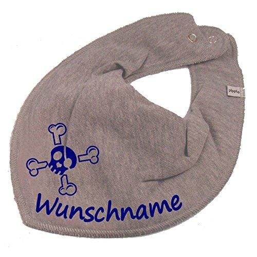 Elefantasie Elefantasie HALSTUCH Totenkopf Pirat mit Namen oder Text personalisiert grau für Baby oder Kind