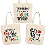 3 Pack Teacher Tote Bags for Women - 15''x16'' Multi-purpose Canvas Tote Bags with Inner Pocket - Teacher Appreciation Gifts for Christmas, Valentine's Day, Teachers' Day, End of the School Year
