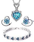 Findout, set bracciale + orecchini + collana con pendente a cuore in cristallo e ametista rossa, rosa, blu, bianca, per donne e ragazze. e Argento, colore: Heart Blue Set, cod. 497