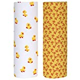 Cuddles & Cribs New Born Cotton Flannel Baby Receiving Blankets - 2 Count, Chicks & Paws, 30 x 30 Inch