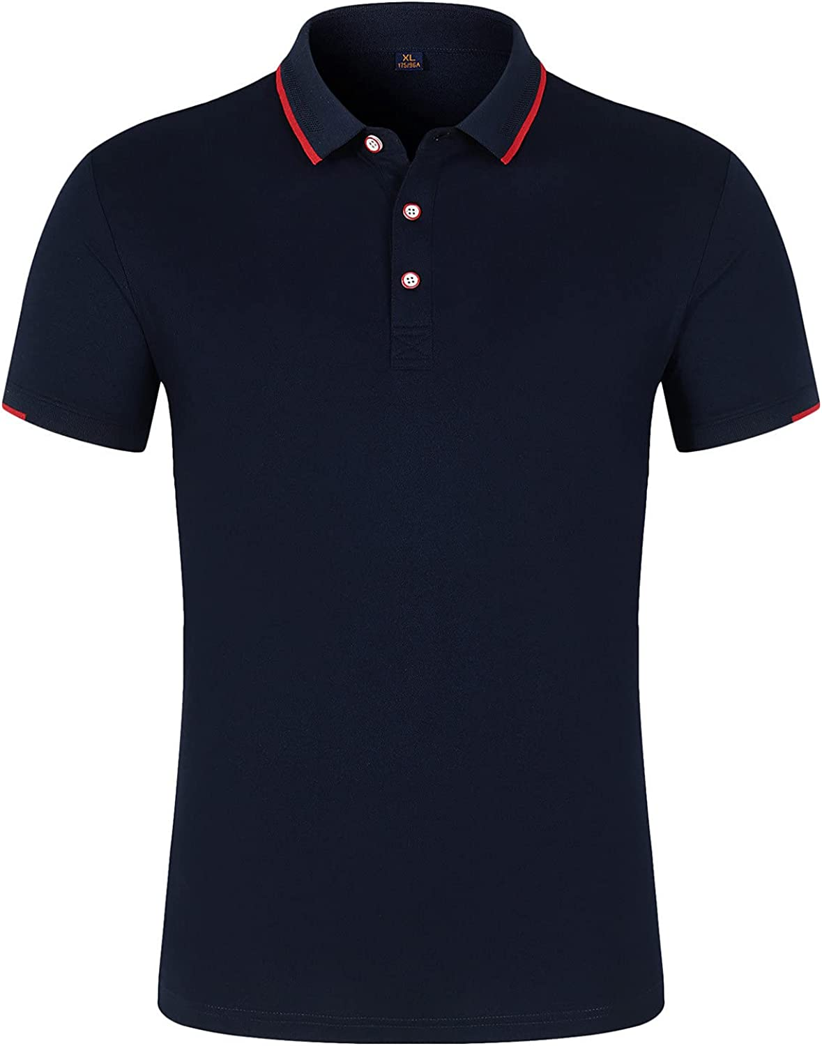 Mens Short-Sleeve Slim Fit Pique Polo Shirt Cotton Clothes Henley T-Shirts Business Casual Shirts Tops