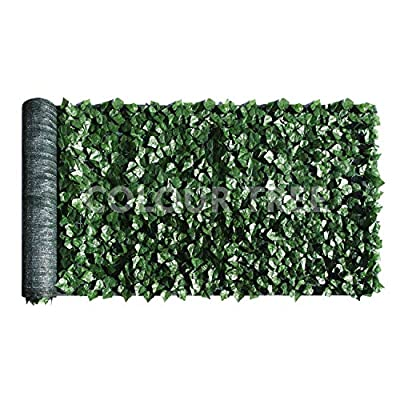ColourTree 6' x 20' Artificial Hedges Faux Ivy Leaves Fence Privacy Screen Cover Panels ?Decorative Trellis - Mesh Backing - 3 Years Warranty