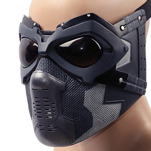 Xcoser Halloween Deguisement Masque Bucky Cosplay Costume Moitié Visage Casque Homme Vêtement Accessoires pour Adulte Réplique