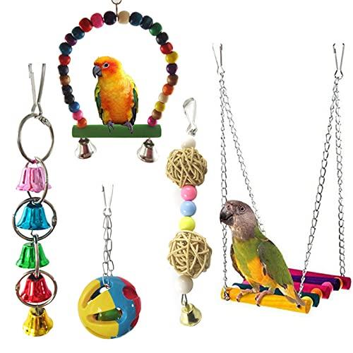 FOReverweihuajz 5 piezas de mascota pájaro loro, palo de caminata, cuerda de campana, soporte para colgar mordedura juguete adecuado para pequeños loros como guacamayos y otras aves pequeñas