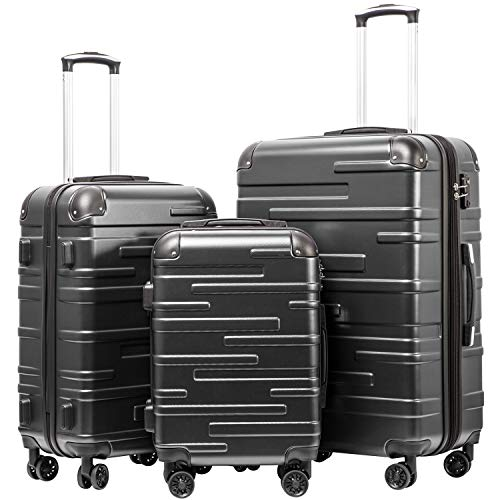 Coolife Luggage Expandable Suitcase 3 Piece Set with TSA Lock Spinner 20in24in28in