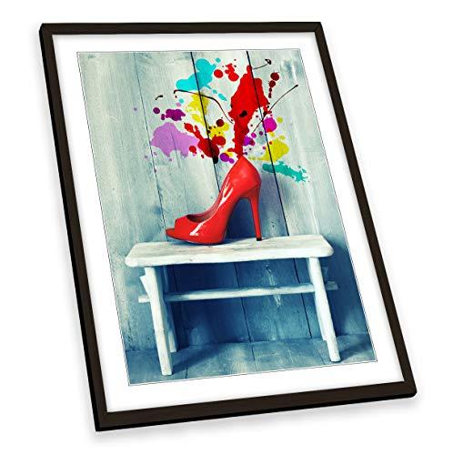 Canvas Geeks Póster con diseño de zapatos de tacón alto, marco negro, tamaño A1
