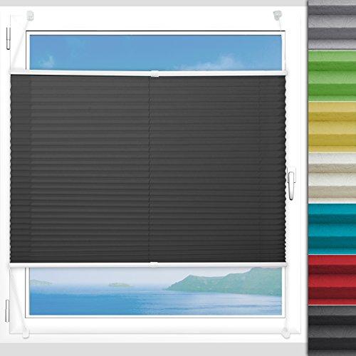 Plissee Rollo Magic   moderner Sichtschutz mit Crushed Optik   Fensterrollo mit Klemmfix ohne Bohren   Klemmrollo Größen (Schwarz - 75 cm breit und 100 cm lang)