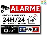 Lot de 8 Autocollants Dissuasifs « Alarme Vidéo Surveillance » Anti cambriolage pour Maison Immeuble Commerce Garage. Stickers Vidéo Surveillance de Qualité Professionnelle (Gendarmerie)