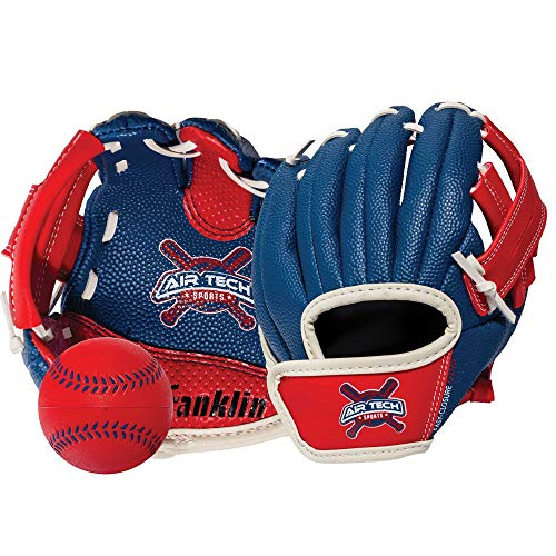 Franklin Sports Air Tech Adapt Series 8.5' Teeball Glove: Right Handed Thrower, Navy/Red