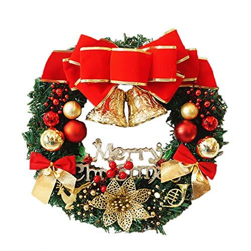 kuaetily 35cm Weihnachtskranz Adventskranz Tür mit Kugel, Schleife, Merry Christmas Weihnachten Dekor