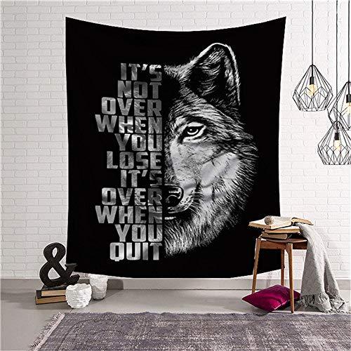 mmzki Wolf Kopf Tier Wandteppich schwarz Wandbehang Wandteppich Wohnheim Kunst Hintergrund Dekoration psychedelischen Wandteppich 20 150x230cm