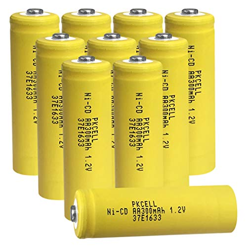 PKCELL Rechargeable AA Batteries, 1.2V 300mWh NiCD Double A Battery, Long-Lasting All-Purpose, for Toy, Cameras Power -10 Count