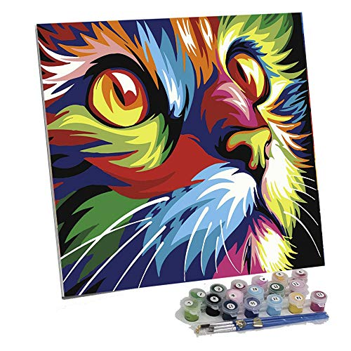 Framed Paint by Number Color Angel DIY Oil Acrylic Paint by Numbers for Adults&Kids Painting on Canvas with Manageable Hard Canvas Board for Home Decoration(Color Cat)