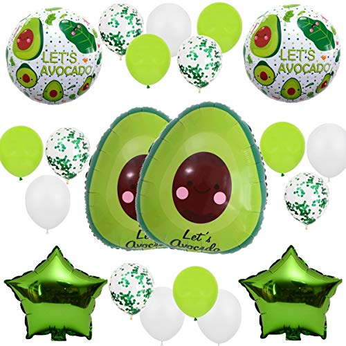 "Fruit Avocado Theme Green White 21pcs Balloon Pack for Birthday Baby Shower Party Decorations Supply - 24"" Avocado Balloon, 18"" Foil Balloon, 12"" Latex Balloon"
