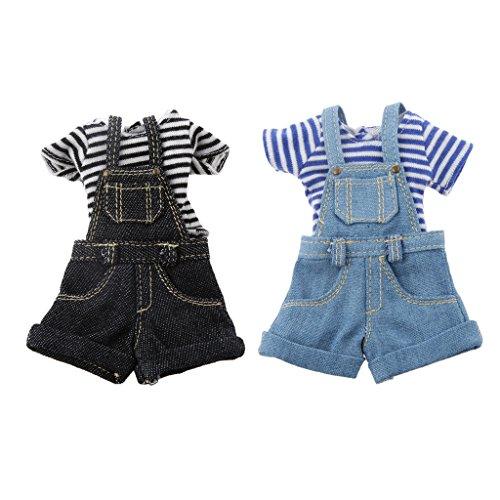 2pcs/ Set Puppenkleidung für Blythe Puppe Zubehör - Streifen T-Shirt & Trägerhose Jeans Hosen - Schwarz, 10.5cm