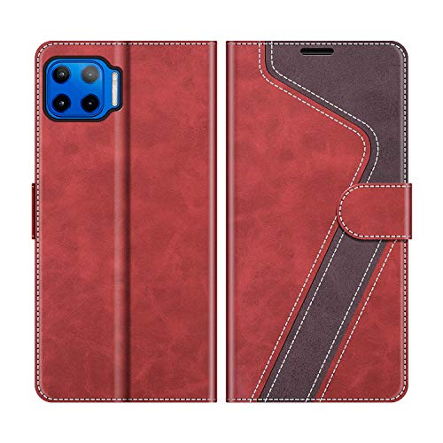 MOBESV Handyhülle für Motorola Moto G 5G Plus Hülle Leder, Motorola Moto G 5G Plus Klapphülle Handytasche Hülle für Motorola Moto G 5G Plus Handy Hüllen, Modisch Rot