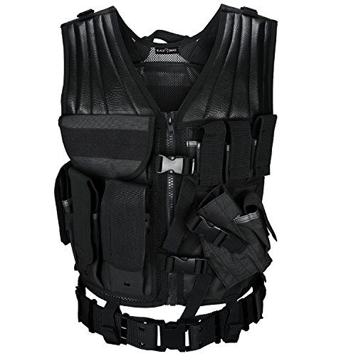 USMC Einsatzweste mit Koppel Tactical Vest Paintball Airsoft Softair Weste BlackSnake® - Schwarz