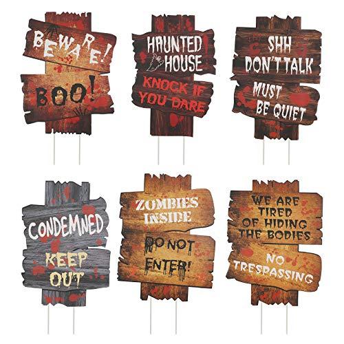 KATOOM 6 Pcs Halloween Beware Signs Yard Stake Lawn Decorations Outdoor Plastic Horror Warning Props...