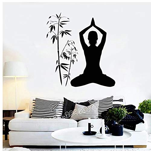 WYLYSD Calcomanía De Pared De Sala De Meditación Silueta De Pose De Yoga Pegatinas De Pared De Dormitorio Bohemio Mural De Estilo De Yoga Interior 84 Cm X 91 Cm
