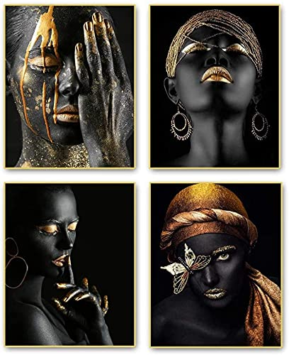 SXXRZA Cuadros de Pared 4 Piezas 40x60cm Sin Marco Arte Moderno Afroamericano Mujer Negra Moda Pop Pendientes de Oro Chica Habitación Póster Arte Pintura Dormitorio Decoración para el hogar