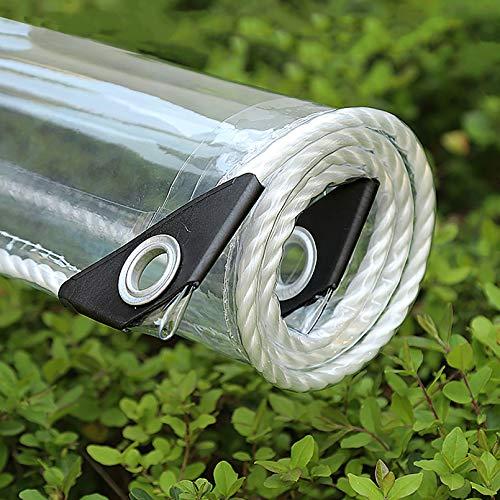 Lona Transparente multifunción para Exteriores - Lona de PVC Transparente Impermeable a Prueba de Polvo a Prueba de Lluvia Lona de plástico de 0,35 mm con Ojales de Metal
