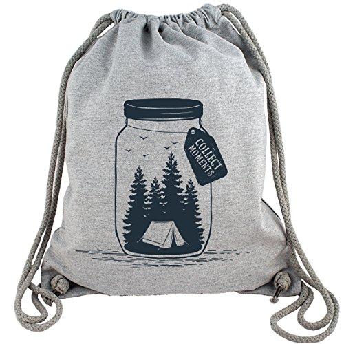 FABTEE - Gym Bag Kollektion - Grau meliert - Turnbeutel aus Fair Trade Bio Baumwolle in hochwertiger Qualität, Größe:Einheitsgröße, Motiv:#GymBag09 - Collect Moments Vol.1