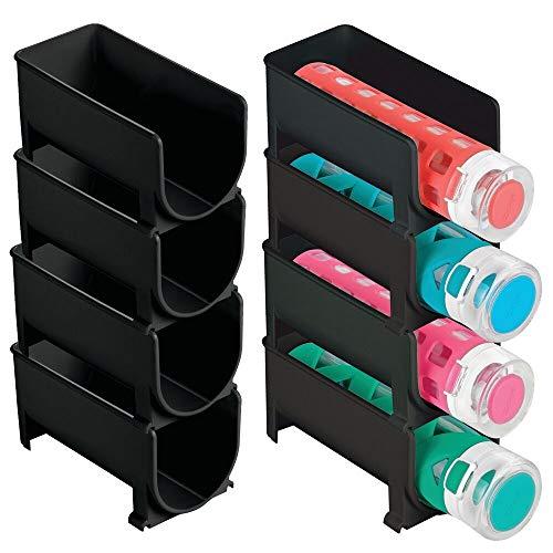 mDesign - Fleshouder - keukenaccessoire - voor keuken en voorraadkast - voor waterflessen en andere drinkflessen - stapelbaar/stijlvol/modern - zwart - per 8 stuks verpakt
