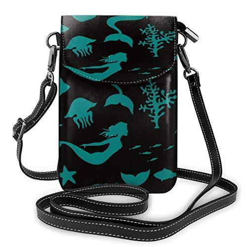 Generic Meerjungfrauen-Handtasche mit Meerjungfrauen-Motiv, kleine Umhängetasche, Handtasche aus PU-Leder mit verstellbarem Riemen für den Alltag