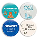 Funny Science Pinback Buttons (2.25 inches) - Set of 4